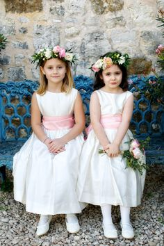 Sweet little gals | Photography: Ashley Garmon Photographers - ashleygarmonphoto.com | Floral Design: Blackbird Floral - blackbirdfloral.com  Read More: http://www.stylemepretty.com/2014/05/28/le-san-michele-garden-wedding/
