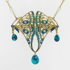 French Art Nouveau Diamond, Turquoise, Enamel and Gold Pendant, Circa 1900s. Macklowe Gallery at the Winter Antiques Show