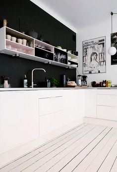 Kitchen - like the black + white, change the shelving to single span thicker open shelves.