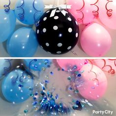 Create this unique gender reveal with confetti from Party City. Fill a dark colored balloon and have your party guests or soon-to-be parents pop to reveal the surprise! Tag a friend in need of gender reveal party inspiration!