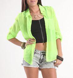 Kirra Neon Convertible Sleeve Pocket Shirt - PacSun.com