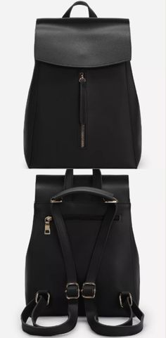 A casual black backpack for everyday use. It features adjustable shoulder straps,  a front zip fastening, and a magnetic button.  #backpack #knapsack #rucksack #bag #black #women #accessories #afflink