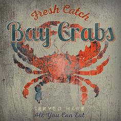 Vintage Signs 'Bay Crabs' by Anthony Morrow Vintage Advertisement on Wood