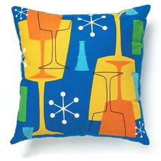 Retro Atomic Print Cocktail Theme Throw Pillow Cover