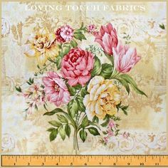 """Paintbrush Studio Victorian Roses Tulips Floral Bouquets  Cotton Fabric By The Yard 36"""" x 44"""""""