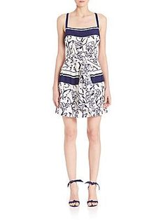 Tanya Taylor Char Dress - White - Indigo - Size 6