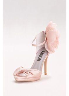 beb01235e Twisted Satin Peep-Toes with Chiffon Flower VWS41205 Bridal Heels