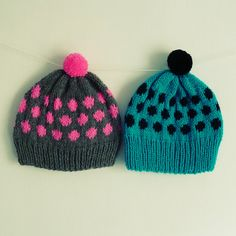 knitted hat  pattern polka dots  baby / Adult 7 sizes  by bysol, $5.00