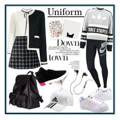 """blackwithe uniform"" by shibhazakura on Polyvore featuring Miss Selfridge, Gucci, Chanel, adidas, Yves Saint Laurent, NIKE, adidas Originals and Merkury"