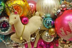 Flocked Vintage Christmas Reindeer and pretty glass ornaments.
