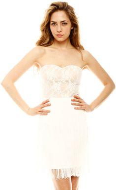 Ark & Co. Fringe Strapless Dress $80.00 thestylecure.com