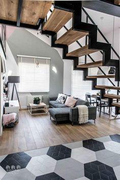 Contemporary apartment by Shoko Design 10 Loft Design, Deco Design, Design Case, Stair Design, Contemporary Stairs, Contemporary Apartment, Industrial Interior Design, Industrial Interiors, Design Interior