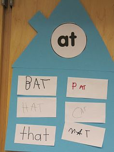 word family houses   do this on large construction paper, whole class can contribute.