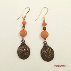 Beaded Earrings, Women's Jewelry, Dangle Earrings, Bohemian Earrings, Tangerine Jade Beads, Brass Lady Bug Bead, Handmade Earrings