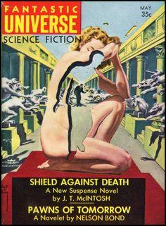 vitazur: Fantastic Universe 1957. Cover art by Virgil Finlay.