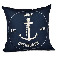 E by Design Nautical Nights Gone Overboard Decorative Pillow