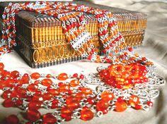 Vintage Orange Glass Necklace Filigree Multi 47 by RenaissanceFair, $23.00