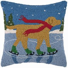 Yellow Labrador Dog Skating Pond Hooked Wool Pillow – For the Love Of Dogs - Shopping for a Cause