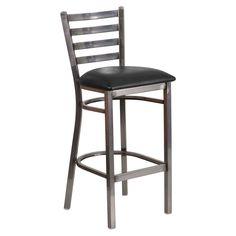 Clear Coat Metal Ladder Back Bar Stool Tall Bar Stools, Dining Stools, Black Bar Stools, Bar Chairs, Room Chairs, Restaurant Bar Stools, Living Room Bar, Dining Room, Upholstered Bar Stools