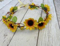 Sunflower Hair Accessory Sunflower Hair Crown by TwoCatsAndAnOwl, $35.00