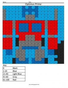 Transformers- Multiplication and Division Free Math Coloring Pages