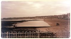 Paddling pool on beach in North Berwick, Scotland