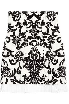 Alexander McQueen Velvet-flocked wool-felt skirt  | THE OUTNET