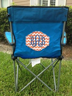 Monogrammed camp chair: Heat transfer vinyl works on these chairs, or use embroidery machine!