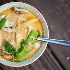 My MOST favorite dish in the world. Thai Red Curry Coconut Soup With Vegetables