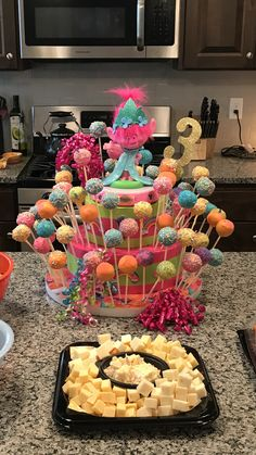 Trolls birthday party cake pop stand