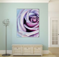 Large Oil Painting of a Purple Rose - Macro Photography - Flower Detail - Colorful, Blue, Black, Magenta, Violet, White -Enchanted - Art