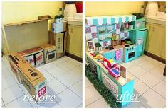 How 1 Mom Turned Leftover Cardboard Boxes Into the Most Incredible Play Kitchen You've Ever Seen - - DIY Cardboard Play Kitchen For Kids Cardboard Kitchen, Cardboard Play, Cardboard Crafts, Diy Kids Kitchen, Kitchen Sets For Kids, Toy Kitchen, Kitchen Stove, Play Kitchens, Diy Karton