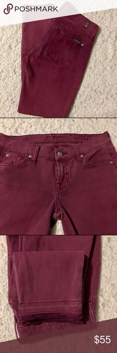 7 For All Mankind skinny/ cropped jeans SZ 25 7 FOR ALL MANKIND NWOT SKINNY/CROPPED BURGUNDY JEANS SZ 25. JEANS ARE IN EXCELLENT CONDITION, CUTE & CROPPED WITH CUTOFF LIKE/FREYED BOTTOMS. THATS HOW THEY'RE SOLD. QUESTIONS, OR MORE PICS, PLEASE ASK! OPEN TO OFFERS, SO MAKE ONE!😬 7 For All Mankind Jeans Skinny