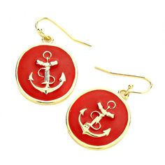 Amazon.com: Red Enamel Anchor Drop Earrings: Clothing ($18) ❤ liked on Polyvore featuring jewelry, earrings, anchor earrings, anchor jewelry, enamel jewelry, red drop earrings and red earrings