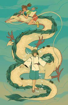 Spirited Away Illustration by Sara Kipin Studio Ghibli Films, Art Studio Ghibli, Totoro, Animation, Sara Kipin, Personajes Studio Ghibli, Chihiro Y Haku, Japon Illustration, Girls Anime