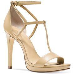 Michael Michael Kors Simone Dress Sandals ($150) ❤ liked on Polyvore featuring shoes, sandals, nude, sexy sandals, nude strappy shoes, strap shoes, strap sandals and sexy strappy shoes