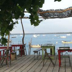 Une des nombreuses cabanes à huîtres du Cap-Ferret, où vous pourrez déguster les fruits de mer du bassin. Si vous le souhaitez, vous pourrez accompagner votre repas, face au bassin d'Arcachon, d'une bonne bouteille de vin de Bordeaux !