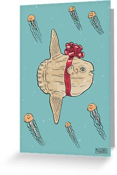 Celebration Sunfish Christmas Card by Richard Morden. The Ocean Sunfish also known as a Mola Mola loves a reason to celebrate. Christmas, holidays, birthdays, whatever the occasion it will be there dressed as a present with a big bow on its head.