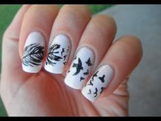 Birds and feather nail art tutorial