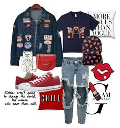 """""""I SLAY"""" by toosweetpepper on Polyvore featuring Chicnova Fashion, One Teaspoon, Love Moschino and Converse"""