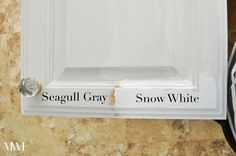 General Finishes milk paint for kitchen cabinets is a smart choice. The paint is easy to work with. This blogger shows the difference between their snow white and seagull gray colors on her oak cabinets.