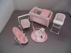 1/12th scale 5 piece nursery set ,Pink and white micro dot contrast via Etsy
