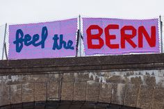 """Feel The Bern"" yarnbomb by ishknits #yarnbomb #feelthebern #philadelphia"