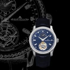 Master Tourbillon Dualtime The midnight blue dial of the Master Tourbillon Dualtime boldly proclaims its noble pedigree. Delicately rimmed by a bezel set with brilliant-cut diamonds, it bears a tourbillon regulator at 6 o'clock facing the 24-hour indication.  The white gold 41.5 mm-diameter case conceals the famous mechanical automatic Jaeger- LeCoultre Calibre 978, winner of the 2009 International Chronometry Contest and reputed for its precision and its reliability.