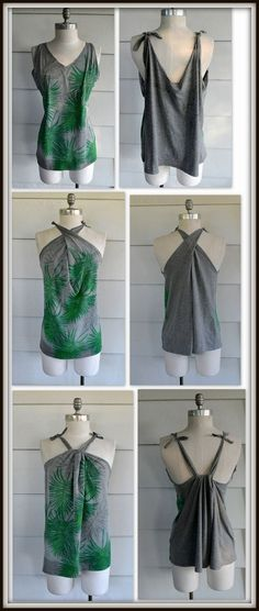 No-Sew Multi-way, Summer Tank: DIY (WobiSobi) This No Sew tank is similar to a couple of other no-sew tanks I have done in the past, but is designed and cut differently and because I am completely obsessed with palm leaves right now I experiment No Sew Tank, Diy Tank, Shirt Makeover, T Shirt Hacks, T Shirt Diy, Diy Shirts No Sew, Diy Cut Tshirts, Sew Tshirt, Sewing Shirts