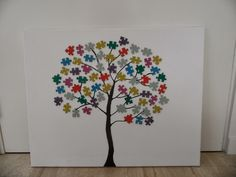 Nice painting, very simple. A tree with puzzle pieces. Puzzle Piece Crafts, Puzzle Art, Puzzle Pieces, Hobbies And Crafts, Diy And Crafts, Arts And Crafts, Diy For Kids, Crafts For Kids, Chip Art