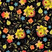 Dessin_russe : illustration de seamless pattern with traditionnelle Khokhloma ornement floral russe Banque d'images