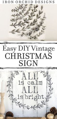 Here is how to create your own amazing Farmhouse Style Christmas sign for your mantle, wall or front porch.  This simple tutorial combined with Decor Stamps from Iron Orchid Designs will get you in the Christmas spirit! #DIYChristmassign #DecorStamps