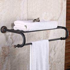 100.00$  Watch here - http://alioue.worldwells.pw/go.php?t=32456520373 - Luxury Solid Brass Bathroom Wall Mounted Bathrobes & Bath Towel Racks Polished black Bathroom Towel Shelf 100.00$