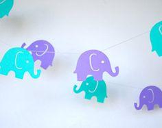 Teal and Lavender Elephant Parade Garland, Elephant Decoration, Nursery Decor, Birthday Decoration, Baby Shower